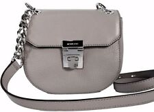 NEW MICHAEL KORS CECELIA LEATHER MINI SADDLE CROSSBODY BAG PEARL GREY