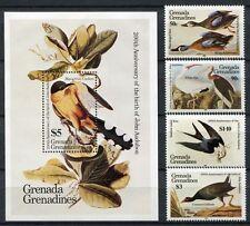 GRENADA GRENADINEN 1985 Vögel Birds Audubon 647-50 + Block 90 MNH