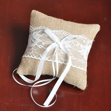 Burlap Lace Ribbon Rustic Wedding Ceremony Party Ring Pillow Bearer CushionDecor
