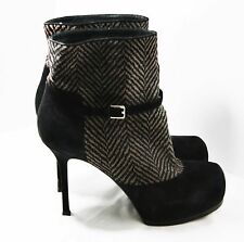 YVES SAINT LAURENT SHOES YSL TRIBTOO BOOTIES CHEVRON CALF HAIR PLATFORM BOOT 8.5