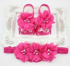 1set Baby Rose Chiffon Pearl Rhinestone Headband Foot Flower Elastic Hair Band