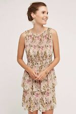 NWT SZ XS ANTHROPOLOGIE TERRACED GARDEN DRESS BY PLENTY BY TRACY REESE PINK TAN
