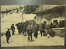 cpa militaire chasseurs alpins en raquettes