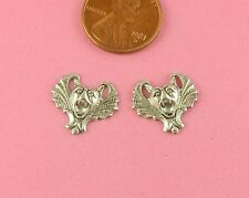 VINTAGE DESIGN ANTIQUE SILVER PLATED BRASS SM SCARY BAT - 2 PC(s)