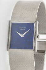 Vintage $25,000 Blue Lapis 18k White Gold Signed CHOPARD Mens Dress Watch 86g