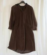 GALLERY Long Brown Trench Style Hooded Coat Sz 10 Soft fabric 100% Polyester