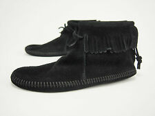 New MINNETONKA MOCCASIN 189 Vintage Black Suede Softsole Zipper Boots 6 M