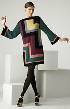 M MISSONI colorblock boatneck modern knit sweater dress 38 2 XS -- MADE IN ITALY