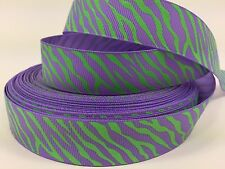 "BY The Yard 7/8"" Purple Zebra Print Grosgrain Ribbon Hair Bows Lisa"