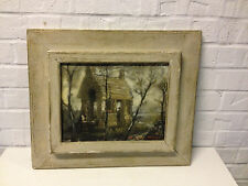 Vintage 1964 George Snow Hill Signed Mixed Media Art on Board Breton Scene
