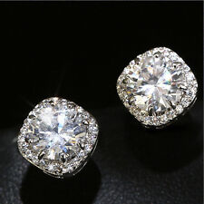 Women 925 Soild Silver Personality Micro Pave CZ Sterling Earring Jewelry