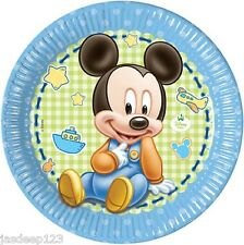 Disney Baby Mickey Mouse 8 Paper Plates Child Birthday Tableware Decoration