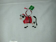 CHRISTMAS 4-4.25''RESIN COW IN SANTA SUIT FLATBACK ORNAMENT-NEW