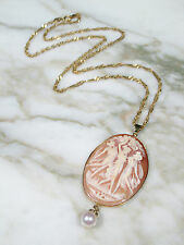 VICTORIAN 14K 18K GOLD CHAIN THREE GRACES SHELL CAMEO PEARL PENDANT NECKLACE