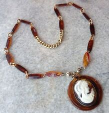 VINTAGE FAUX TORTOISE SHELL CAMEO NECKLACE