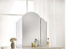 NEW LARGE STYLISH 3 SECTION FRAMELESS DRESSING TABLE ARCHED EDGE DRESSER MIRROR