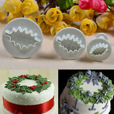 Holly Leaf Cupcake Cookie Fondant Cake Icing Decor Tools Cutters Mould Baking 3X