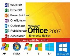 Microsoft office 2007 pour windows 7,8 & 10 word, excel, powerpoint, outlook, etc.