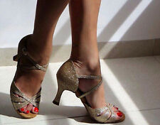 New Women Gold Glitter Latin Salsa Ballroom Dance Shoes High Heels Size