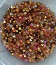 100 Austrian Crystal Glass Bicone Beads-Jewellry Making - Rich Rose Gold Mix 4mm