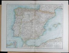 "1900 ""TIMES""  LARGE ANTIQUE MAP - SPAIN AND PORTUGAL INSETS CUETA, GIBRALTAR"