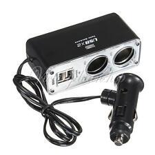 12V/24V Car Cigarette Lighter Socket Plug DC Power Adapter Splitter 2 USB Ports