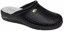 New Ladies Leather Clogs Casual Everyday Work Shoes Slippers Black Navy White
