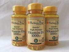3 Bottles Puritan's Pride Sunvite High-Potency Vitamin D3 1000 IU Made In USA