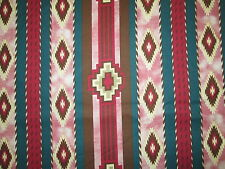 Navajo Native American Pink Teal Print Cotton Fabric FQ OOP