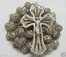 † HTF ENORMOUS ANTIQUE SOLID 800 STERLING SILVER FILIGREE ROSARY 42.02 GRAMS †