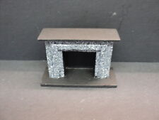 DOLLHOUSE 1/2'' SCALE FIREPLACE / BLACK/ MARBLE LOOK
