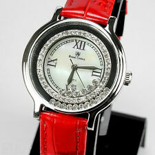 Large Stainless Steel Watch With Genuine Lab Diamond Stones & Red Leather Strap