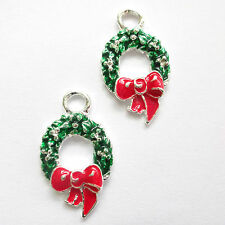 5 Enamel 25x15mm Christmas Wreath charms