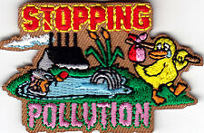 """STOPPING POLLUTION""- IRON ON EMBROIDERED PATCH/UNIVERSE, WORLD, EARTH, WILDLIFE"