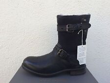 UGG COLLECTION NIGEL LEATHER SHEEPSKIN LINED BUCKLE BOOTS, US 12/ EUR 45.5 ~NIB