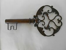 "Metal Key, Antiqued Brass Stain, 16"" Tall, Cottage/Country/Rustic Home Décor"