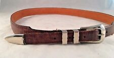 Belt Leather  36 Brown Silver Buckle  Made in USA Used