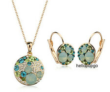 18K Rose Gold Gp Swarovski Crystal Green Necklace and Earrings Jewelry Set BR121