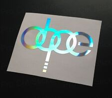 100mm (10cm) Audi Dope Hologram Holographic Silver Chrome Sticker CAR SCENE EURO
