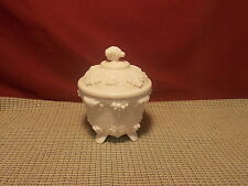 Vintage Jeannette Glass Shell Pink Milk Glass Footed Candy Dish Grapes Design