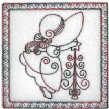 1092:  Machine Embroidery Designs - Christmas Sunbonnets - Redwork