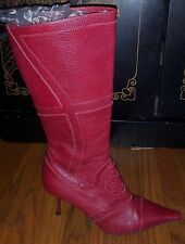 ESCADA Red Pebble Leather Heels Boots Size 40 EURO 9 OR 9.5 US