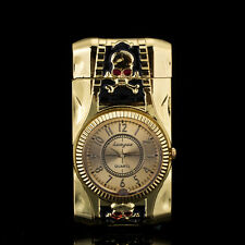Multifunctional Skull Cigarette Lighter Gold Quartz Watch For Men