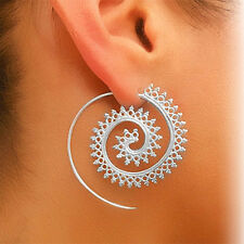 Women Silver Vintage Circles Round Spiral Tribal Hoop Earrings Fashion Jewelry