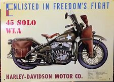 HARLEY-DAVIDSON 45 SOLO WLA Tin Sign Garage Vtg Bar Wall Decor 30x40cm