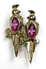 Stunning Vintage Coro Duette Pin Gold Birds Large Pink Stones Enamel Rare