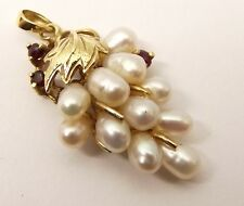 Vtg 14K Gold Natural Ruby Rice Pearl Cluster Pendant Grape Bunch Leaf Estate