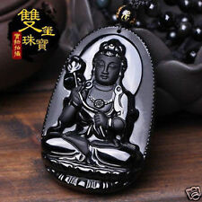 100% Natural A Obsidian beautiful Chinese Black Carved Kwan-yin