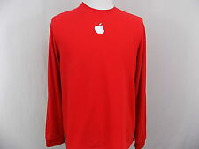 I23 Men's Apple Logo Long Sleeve Red Shirt 100% Cotton L