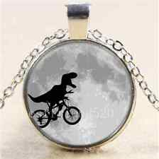 Dinosaur on a Bike In Moon Cabochon Glass Tibet Silver Chain Pendant Necklace